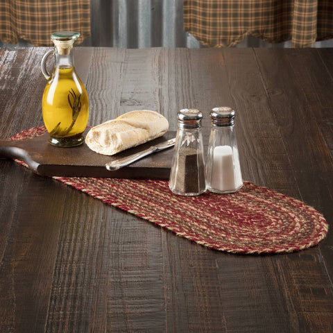 VHC-Brands-Mayflower-Market-Primitive-Tabletop-Kitchen-Cider-Mill-Jute-Jute-Runner-8x24-Burgundy-Natural-Olive-Green