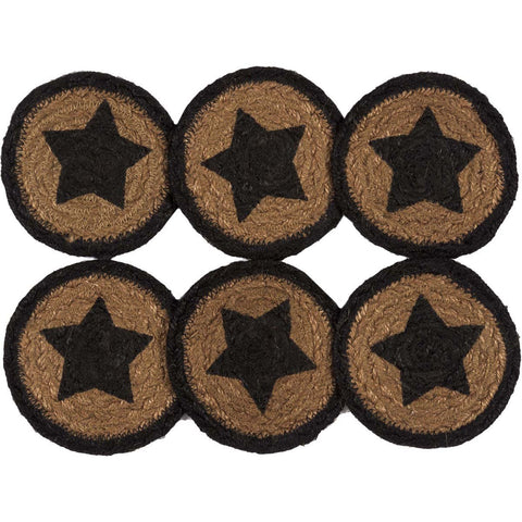VHC-Brands-Mayflower-Market-Primitive-Tabletop-Kitchen-Farmhouse-Jute-Jute-Coaster-Set-6-Country-Black-Dark-Tan