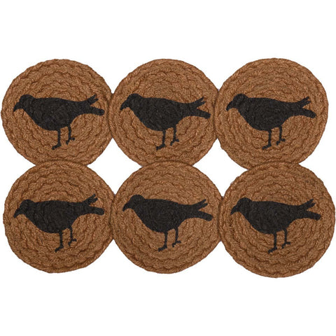 VHC-Brands-Mayflower-Market-Primitive-Tabletop-Kitchen-Heritage-Farms-Jute-Coaster-Set-6-Mustard-Tan-Raven-Black
