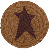 VHC-Brands-Mayflower-Market-Primitive-Tabletop-Kitchen-Heritage-Farms-Jute-Coaster-Set-6-Mustard-Tan-Burgundy