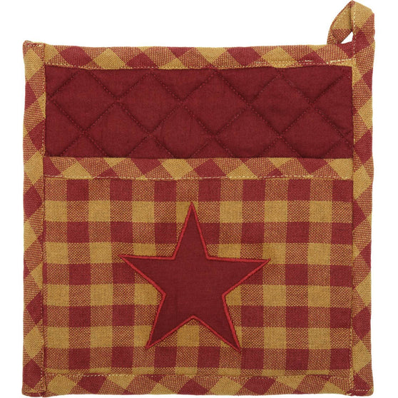 VHC-Brands-Mayflower-Market-Primitive-TabletopKitchen-Burgundy-Star-Pot-Holder-Burgundy-Dark-Tan