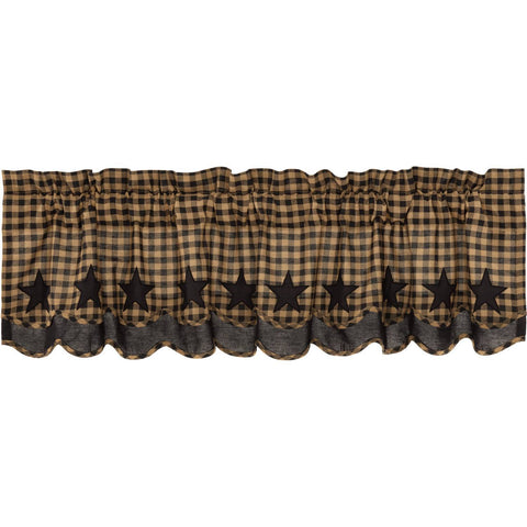 VHC-Brands-Mayflower-Market-Primitive-Window-Black-Star-Valance-16x60-Raven-Khaki