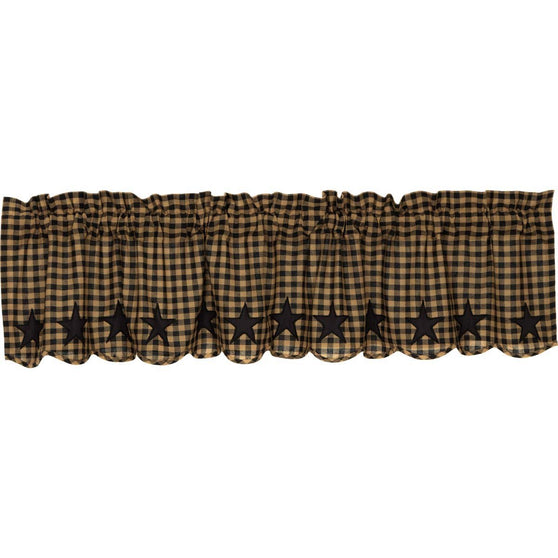 VHC-Brands-Mayflower-Market-Primitive-Window-Black-Star-Valance-16x72-Raven-Khaki
