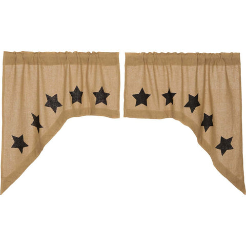 VHC-Brands-Mayflower-Market-Primitive-Window-Burlap-Natural-Black-Stars-Swag-Natural-Country-Black