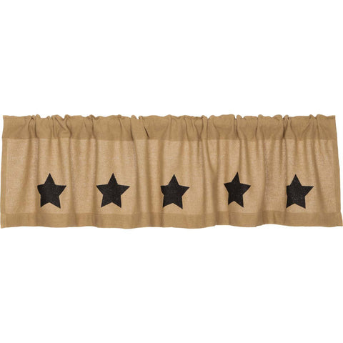 VHC-Brands-Mayflower-Market-Primitive-Window-Burlap-Natural-Black-Stars-Valance-16x72-Natural-Country-Black