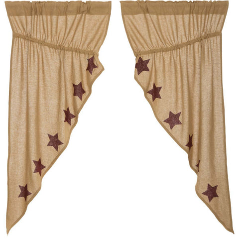 VHC-Brands-Mayflower-Market-Primitive-Window-Burlap-Natural-Burgundy-Stars-Prairie-Short-Panel-Set-Natural-Burgundy