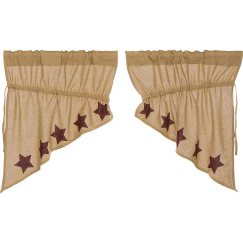 VHC-Brands-Mayflower-Market-Primitive-Window-Burlap-Natural-Burgundy-Stars-Prairie-Swag-Natural-Burgundy