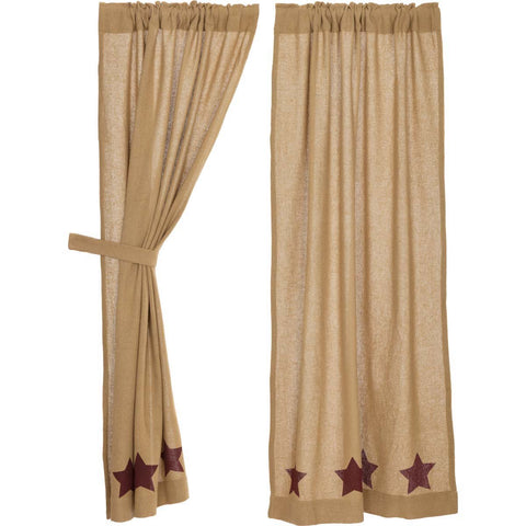 VHC-Brands-Mayflower-Market-Primitive-Window-Burlap-Natural-Burgundy-Stars-Short-Panel-Set-63x36-Natural-Burgundy