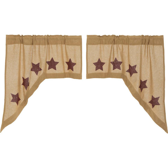 VHC-Brands-Mayflower-Market-Primitive-Window-Burlap-Natural-Burgundy-Stars-Swag-Natural-Burgundy