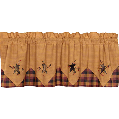 VHC-Brands-Mayflower-Market-Primitive-Window-Heritage-Farms-Valance-20x60-Mustard-Deep-Burgundy-Raven-Black