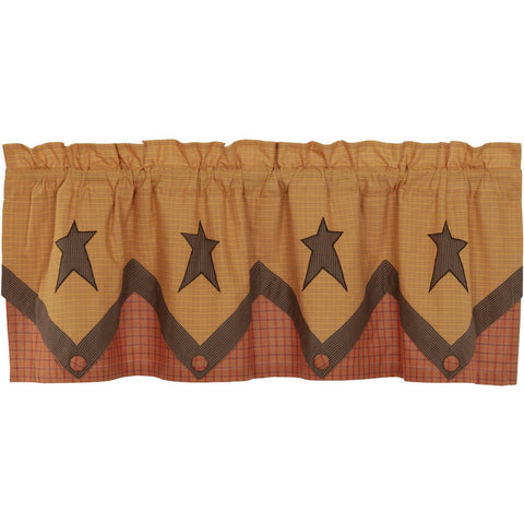 VHC-Brands-Mayflower-Market-Primitive-Window-Stratton-Valance-20x60-Dark-Khaki-Red-Orange-Country-Black