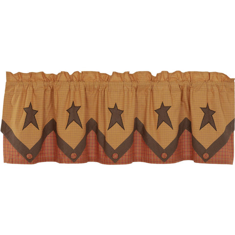 VHC-Brands-Mayflower-Market-Primitive-Window-Stratton-Valance-20x72-Dark-Khaki-Red-Orange-Country-Black