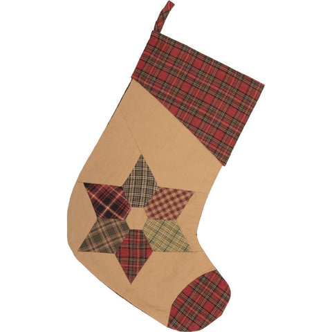 VHC-Brands-Mayflower-Market-Traditional-Seasonal-Tea-Star-Stocking-11x15-Dark-Tan-Brick-Red-Moss-Green