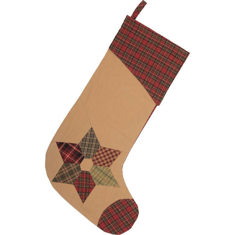 VHC-Brands-Mayflower-Market-Traditional-Seasonal-Tea-Star-Stocking-11x20-Dark-Tan-Brick-Red-Moss-Green