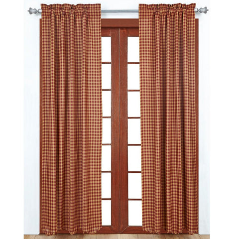 Window BurgundyCheck Panels & Short Panels VHC-Brands