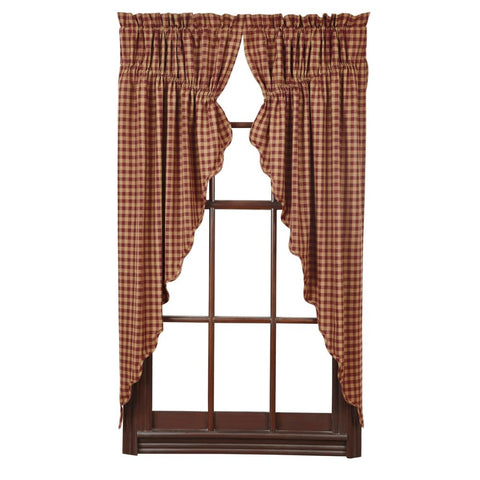 Window BurgundyCheck Prairie Swags & Prairie Curtains VHC-Brands