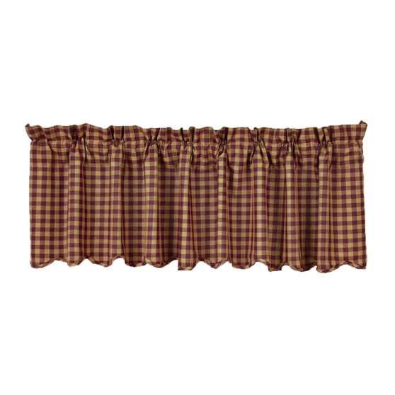 Window BurgundyCheck Valances & Balloon Valances VHC-Brands