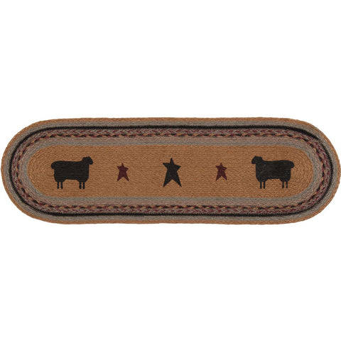 Heritage Farms Sheep Jute Stair Tread Oval Latex 8.5x27