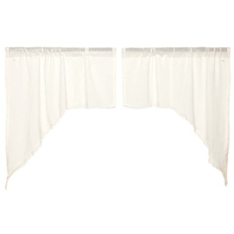 Tobacco Cloth Antique White Swag Fringed Set of 2 36x36x16