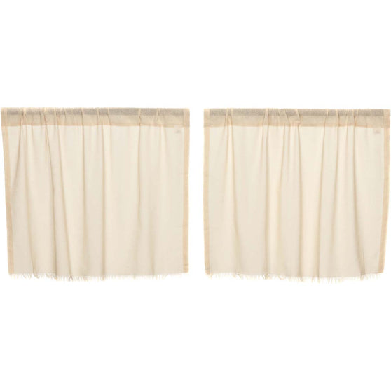 Tobacco Cloth Natural Tier Fringed Set of 2 L24xW36