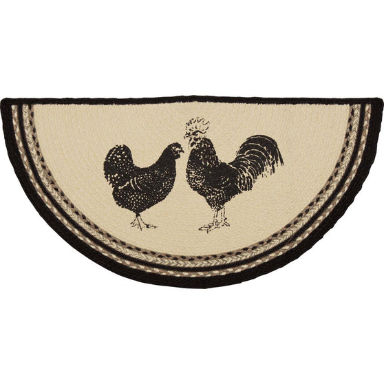 Sawyer Mill Poultry Jute Rug Half Circle 16.5x33