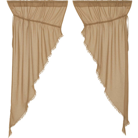 Tobacco Cloth Khaki Prairie Curtain Fringed Set of 2 63x36x18