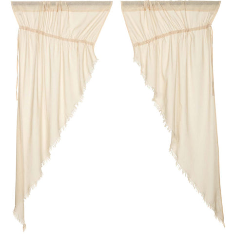 Tobacco Cloth Natural Prairie Curtain Fringed Set of 2 63x36x18