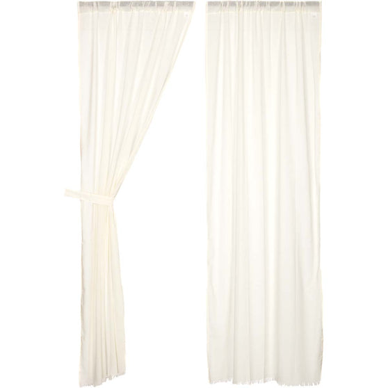 Tobacco Cloth Antique White Panel Fringed Set of 2 84x40
