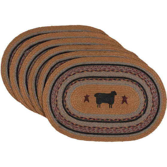 Heritage Farms Sheep Jute Placemat Oval Set of 6 12x18