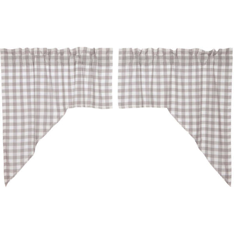 Annie Buffalo Check Grey Swag Set of 2 36x36x16