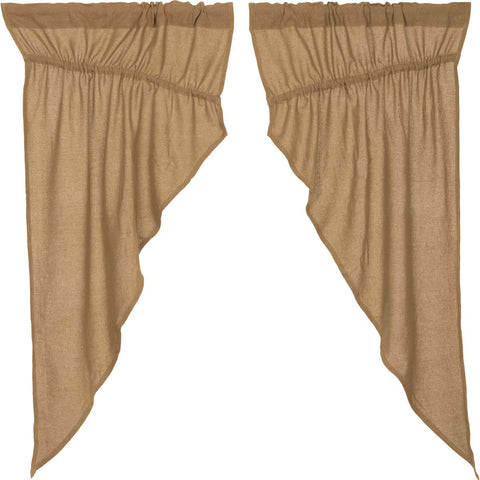 Burlap Natural Prairie Curtain Set of 2 63x36x18
