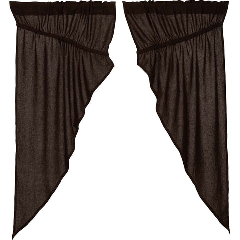 Burlap Chocolate Prairie Curtain Set of 2 63x36x18