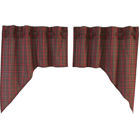 Tartan Red Plaid Swag Set of 2 36x36x16