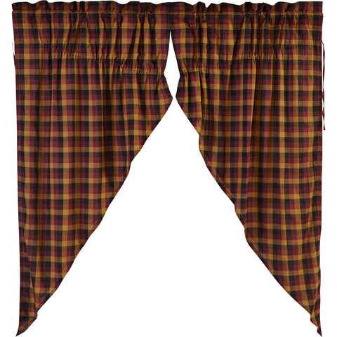 Primitive Check Prairie Curtain Set of 2 63x36x18