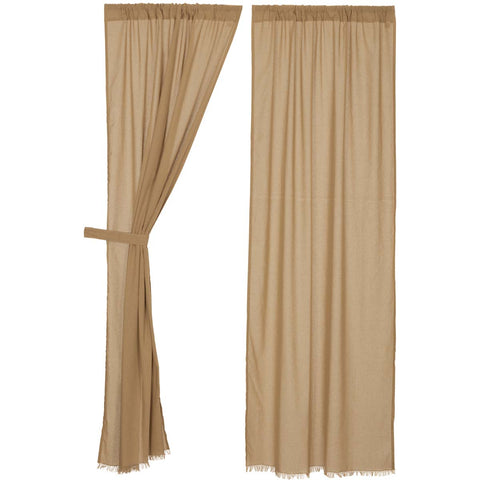 Tobacco Cloth Khaki Panel Fringed Set of 2 84x40