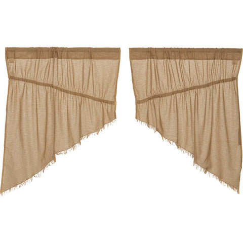 Tobacco Cloth Khaki Prairie Swag Fringed Set of 2 36x36x18