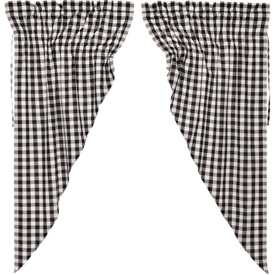 Annie Buffalo Check Black Prairie Curtain Set of 2 63x36x18