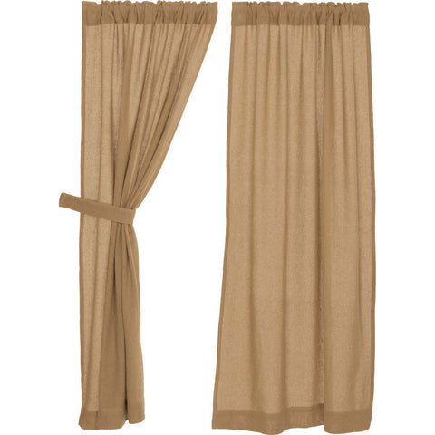 Burlap Natural Short Panel Set of 2 63x36