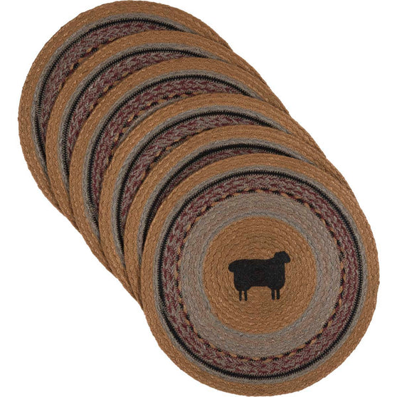 Heritage Farms Sheep Jute Tablemat 13 Set of 6