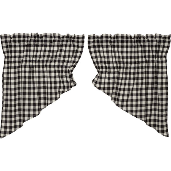Buffalo Black Check Prairie Swag Set of 2-36x36
