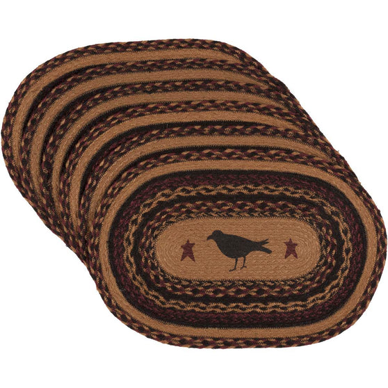 Heritage Farms Crow Jute Placemat Oval Set of 6 12x18