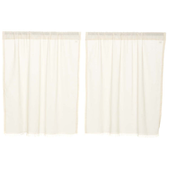 Tobacco Cloth Antique White Tier Fringed Set of 2 L36xW36