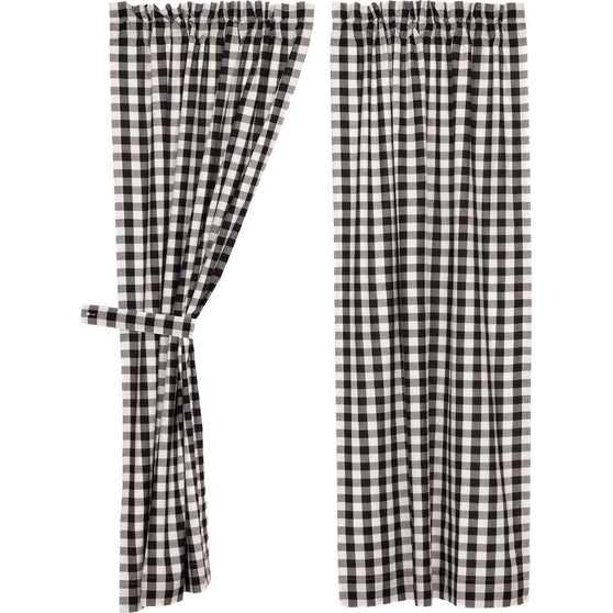 Annie Buffalo Check Black Short Panel Set of 2 63x36