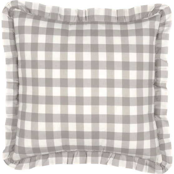 Annie Buffalo Check Grey Fabric Pillow 18x18