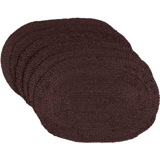 Burgundy Jute Placemat Oval Set of 6 12x18