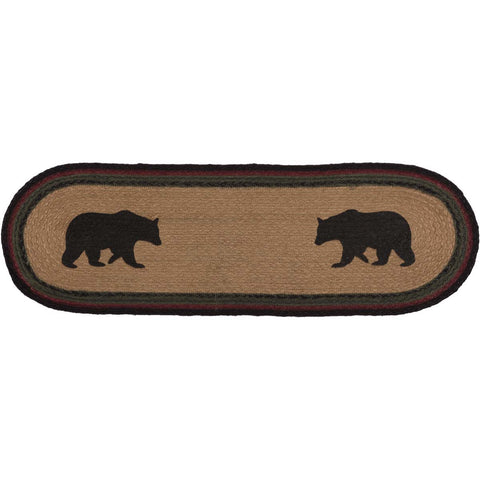 Wyatt Bear Jute Stair Tread Oval Latex 8.5x27