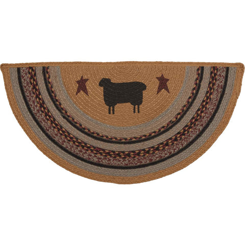 Heritage Farms Sheep Jute Rug Half Circle 16.5x33