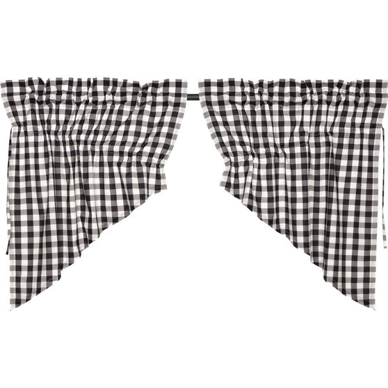Annie Buffalo Check Black Prairie Swag Set of 2 36x36x18