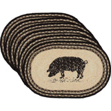 Sawyer Mill Pig Jute Placemat Oval Set of 6 12x18