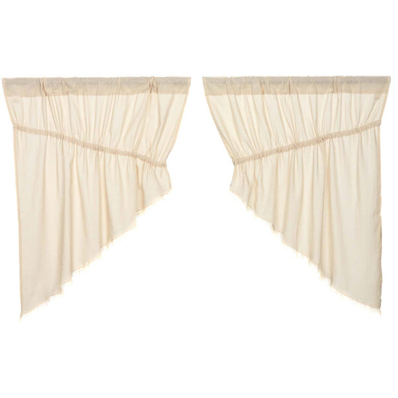 Tobacco Cloth Natural Prairie Swag Fringed Set of 2 36x36x18